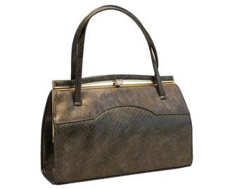 Vintage, Green Leather Purse, Handbag, Top Handle Bag, 1950's