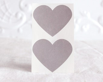 24 Grey large heart stickers, seals, 1.5 inch wide for gift wrap, packaging, and pretty wedding invitations