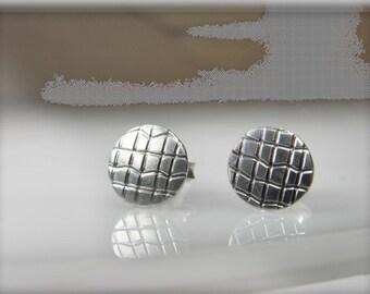 dot stud silver earrings, small stud earrings, textured earrings, contemporary