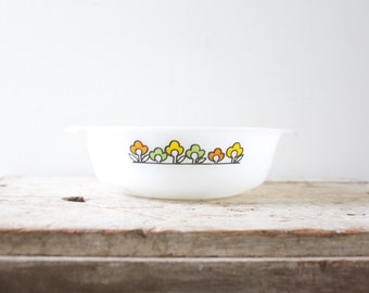 Anchor Hocking Fire King Casserole Milk Glass Vegetable Dish China Bowl Summerfield Pattern - Orange Green Yellow Flowers