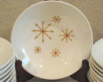 Vintage Star Glow Dessert Bowls - 1960s - Gold Atomic Starburst Bowls - Large Quantity