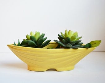 Ceramic Planter Yellow Planter Roseville Pottery Roseville Planter Mid Century Modern Planter Yellow Dish Planter