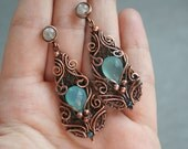Frosted Water - aqua blue chalcedony earrings copper intricate wire wrapped OOAK