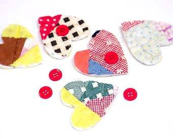 Quilted Heart Appliques DIY Heart Craft Stack Kit Primitive Patchwork Cutter Quilt Embellishments Vintage Feedsack Quilt itsyourcountry