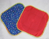 Quilted Chartres Finger Labyrinth, Plain Red Front, Multi-Colored Hearts on Blue Flannel Back
