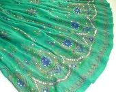 Maxi Skirt: Aqua Green Gypsy Skirt, Long Indian Skirt, Teal Bollywood Belly Dance Skirt, Floral Bohemian Sequined Skirt, Festival Clothing