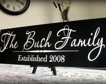 Personalized Family Name Sign Last Name Sign Family Established Sign Carved Hand Painted 8 x 22 Wedding Gift