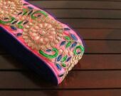 1Yard Pink Silk Fabric Embroidered Trim-Silk Sari Border-Blue Piping on Pink Fabric Trim-Pearls & Stones Design-Silk Fabric Trim By The Yard