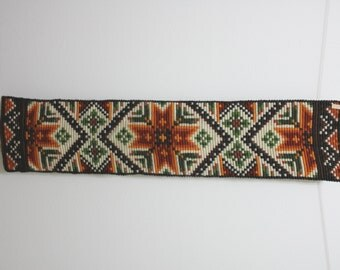 Vintage 1970's Hand Embroidered Cochet Ethnic Wall Hanging in Brown