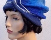 1920 retro beret, blue flapper hat, felt beret,1920s inspired hat, art deco fashion, 20s accessory, winter hat