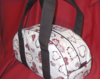 """Hand-Made Fabric Purse, Hearts and Flowers, nightwingcreations Original """"Bowl-A-Rama"""" Purse or Bag"""