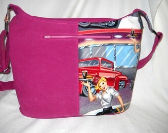 "Nightwingcreations Original Design, ""Ashley Bag"", Cross Body, Bucket Bag, Hand-Made Fabric Purse, Alexander Henry ""Phil's Drive-In"" Fabric"