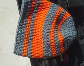 Mens Hat Crochet Chunky Thick Warm Neon Orange Gray Grey Striped Wool Men's Women's Hiking Skiing Slouch Beanie (Large L - Ready to Ship)