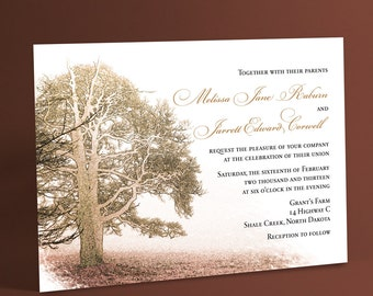 Wedding Invitations With Bare Winter Trees, Tree or Nature Themed Wedding Invites. You Choose Color Accents