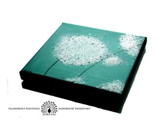 Small dandelion canvas print. Teal canvas art with small Swarovski crystals & glitter. Small canvas wall art. Teal decor. Turquoise mint.