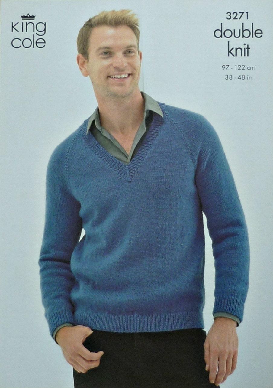 Mens Knitting Pattern K3271 Mens V-Neck Long sleeve Jumper