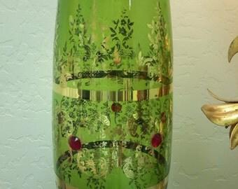 "Vintage CZECH BOHEMIAN Glass 16""  Vase Gladiolus Flower Long Stem Holder Green With Gold Gilt Mid Century Decor"