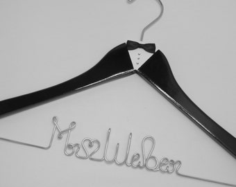 Wedding Hanger, Groom Hanger, Personalized Hanger, Wedding Gift, Bachelor Party, Painted Hanger