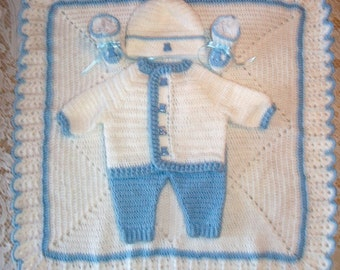 Baby Boy Blue and White Crochet Layette Sweater Set , With Pants, Booties and Blanket Perfect For Baby Shower Gift or Take Me Home outfit