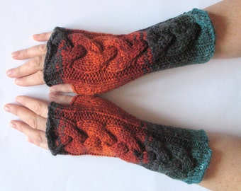Fingerless Gloves Brown Orange Blue Black Wrist Warmers