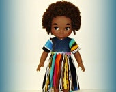 "Handmade Clothes for 16"" Disney Animator Doll, Multicolor Stripe High Low Dress with Denim Bodice and Short Sleeves"