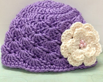 Lilac Emma hat / Lavender hat / Shells / Cream flower with pink beads/ Mary Jane shoes