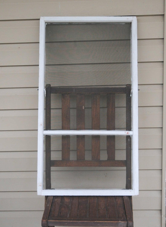 Vintage house window screen white wood