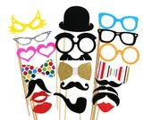 Wedding Photo Booth Props - 20 Piece Photobooth Props set - Birthday Photo Props