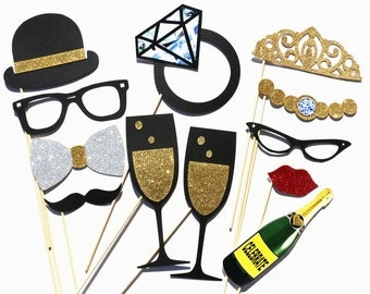 Wedding Party Photo Booth Props - 12 Piece Wedding Party Favor Set - Bridal Shower Photobooth Photo Props - Birthday