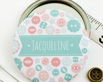 Personalised Button Compact Pocket Mirror