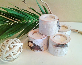 10 Birch Tree branch candles - Rustic wedding - Wood tree branch candles - Birch tree logs - Home decor