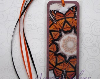 Handmade Laminated Durable Bookmark Monarch Butterfly Kaleidoscope Art or gift set with button, magnet, mirror or keyring