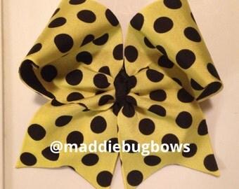 Yellow and Black Polka Dot Cheer Bow