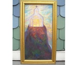 Original Oil Painting Spiritual Icon, Expressionist ,Church on Rock, Shirin Mackeson