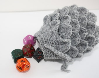 Scale Dice bag stone grey  pouch / crocodile stitch