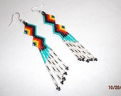 Native American Beaded Zig Zag Earring in Turquoise,Red, Orange, Yellow, Silver and Black Delcia Beads and Great Fun to Wear Geometric