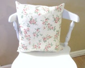 Shabby Chic Rose Canvas Pillow Cover/ Throw pillow Cover/ Cottage Chic/ Throw Pillow/ Decorative Pillow