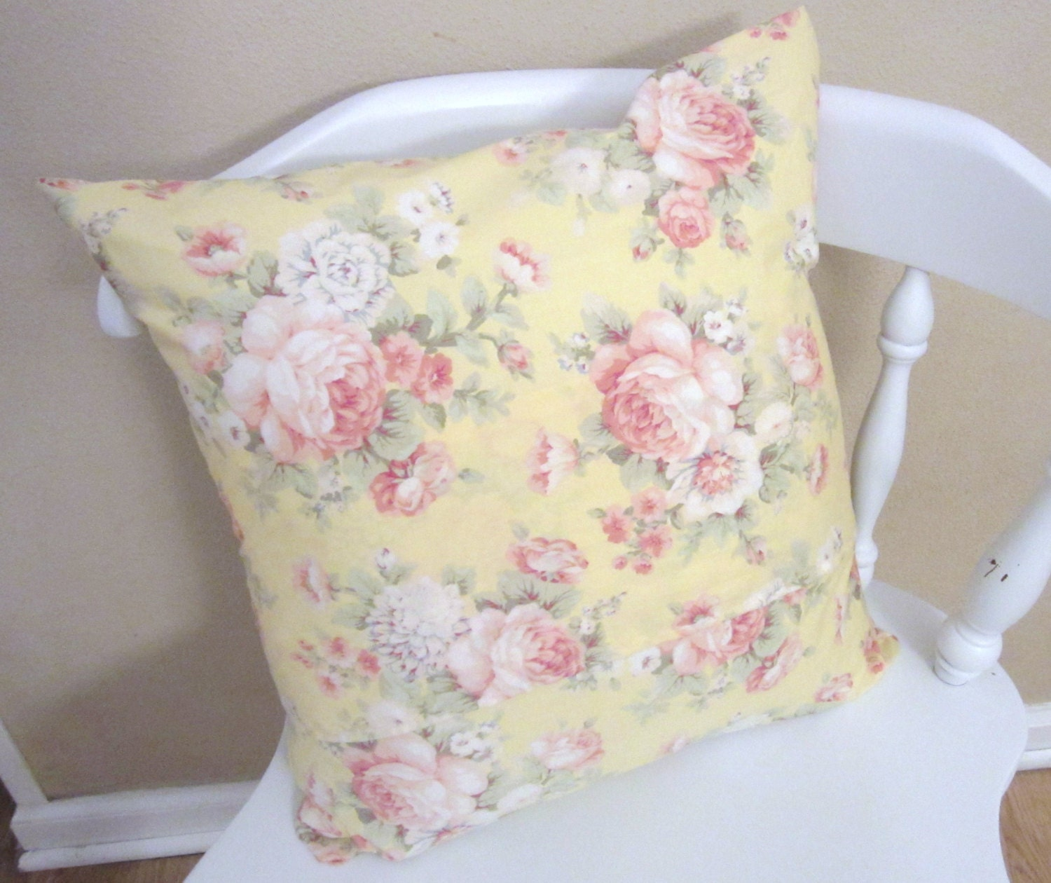 Shabby Chic Bed Pillows : Shabby Chic Yellow Vintage Rose Pillow by Peaceofmindpillows