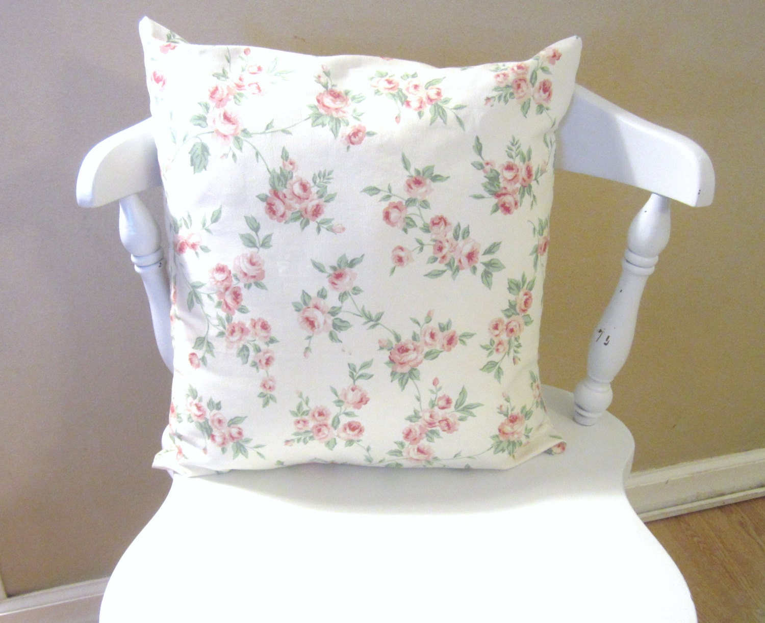 Shabby Chic Decorative Pillows : Shabby Chic Rose Canvas Pillow Cover/ Throw pillow Cover/
