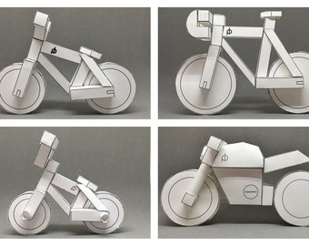 paperbikes v1, 2, 3 and 101 papercraft model kits