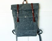 Roll Top Backpack / Rucksack in grey waxed canvas and leather