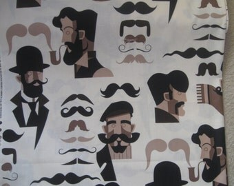 SALE moustache fabric by the yard fabric piece  cotton Alexander Henry new addition ships fast