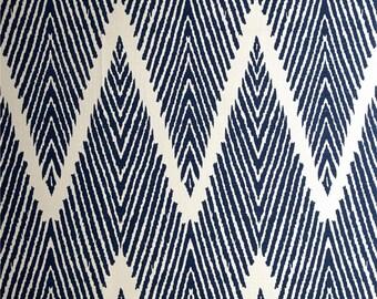 "Two  96"" x 50""  Custom Curtain Panels   -  Lacefield Bali Chevron Zig Zag - Navy/White"