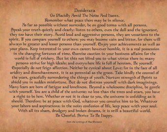 Desiderata Poem-Poster on 11 x 14 Antique Design-From The Writings of Max Ehrmann