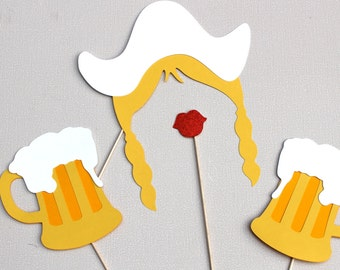 Oktoberfest Photo Booth Props - 4 Piece Prop Set - Dutch Girl Hat and Braids with Ruby Red GLITTER Lips and Beer Mugs