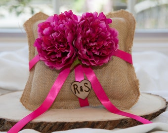 Shabby chic Burlap Ring bearer pillow with Bride and Groom Initials over 60 flowers to select from!