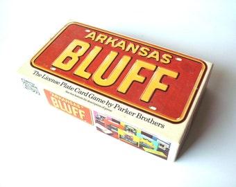 Vintage Arkansas Bluff Game, Parker Brothers, License Plate Card Game