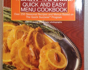 Vintage 1987 First Edition Weight Watchers Quick and easy Menu Cookbook