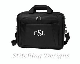 Monogrammed briefcase, messenger bag - Black
