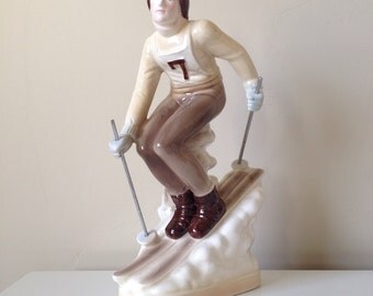 Devine Vintage Skier Ceramic Figurine